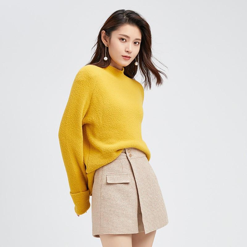金苑慵懒风毛衣女2019时尚宽松冬季新款套头上衣打底针织衫H951099