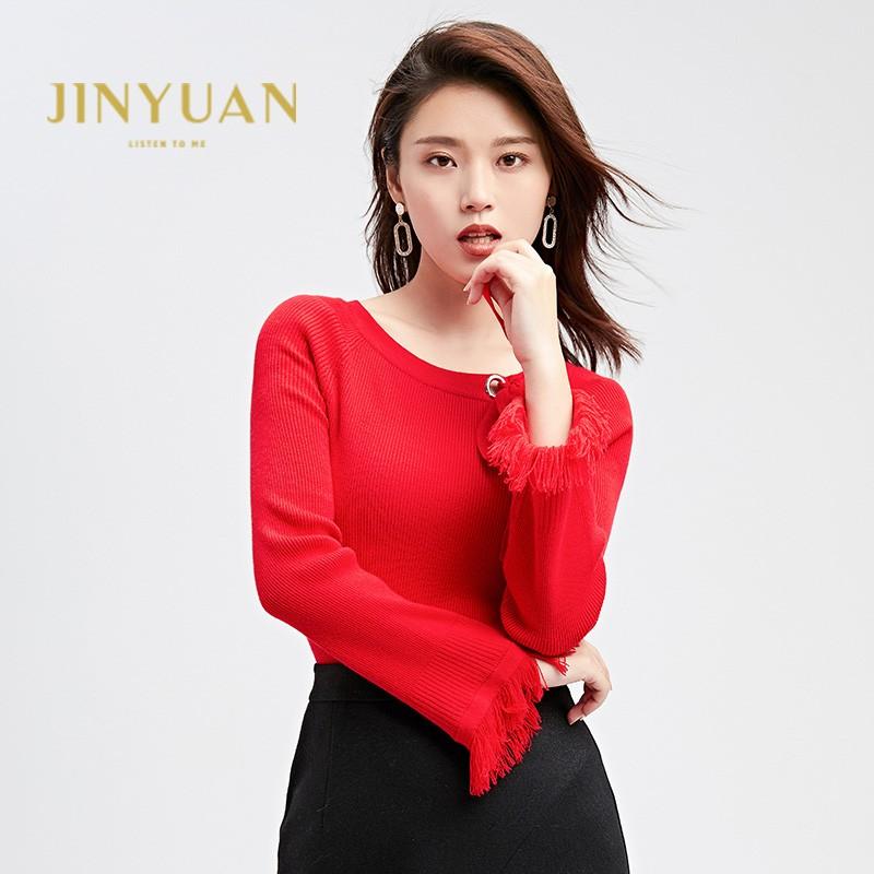 金苑2019冬装新款打底线衫女V领红色显瘦长袖百搭针织衫H951121