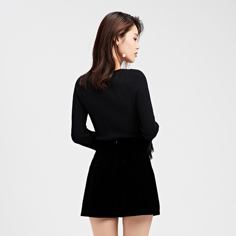 金苑2019冬装新款打底线衫女V领红色显瘦长袖百搭针织衫H9511212