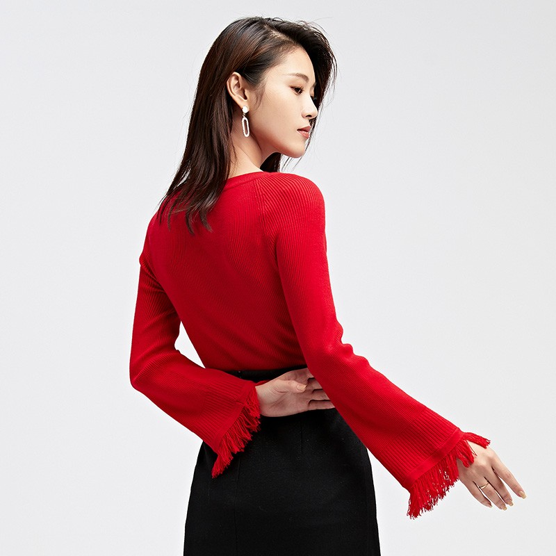 金苑2019冬装新款打底线衫女V领红色显瘦长袖百搭针织衫H951125