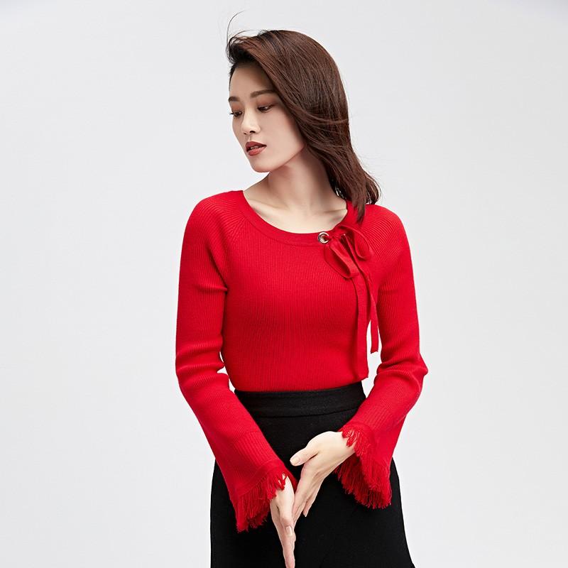 金苑2019冬装新款打底线衫女V领红色显瘦长袖百搭针织衫H951122