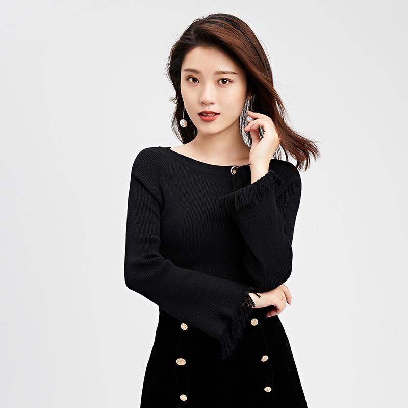 金苑2019冬装新款打底线衫女V领红色显瘦长袖百搭针织衫H9511210