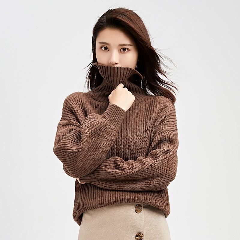 内搭高领毛衣女士2019冬季显瘦上衣套头毛衫长袖打底针织衫H951139