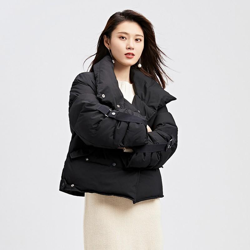 金苑韩版短款外套女2019冬季新款宽松时尚潮百搭面包羽绒服J951075