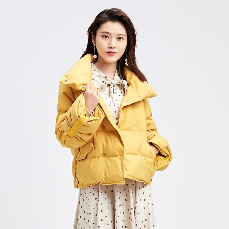 金苑韩版短款外套女2019冬季新款宽松时尚潮百搭面包羽绒服J9510711