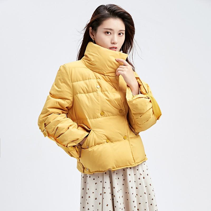 金苑韩版短款外套女2019冬季新款宽松时尚潮百搭面包羽绒服J951078