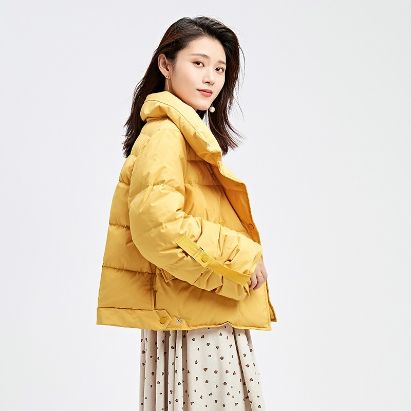 金苑韩版短款外套女2019冬季新款宽松时尚潮百搭面包羽绒服J951079