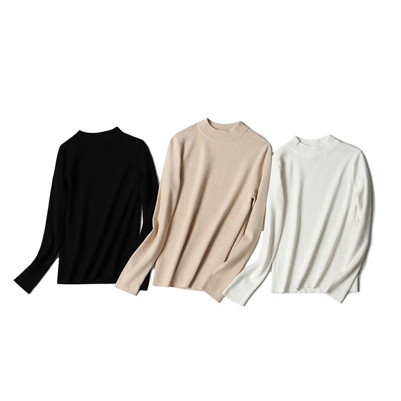 金苑冬装2019新款女装打底上衣基础纯色显瘦外穿长袖针织衫H959015