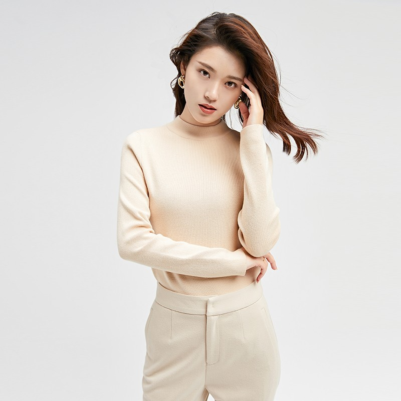 金苑冬装2019新款女装打底上衣基础纯色显瘦外穿长袖针织衫H959013