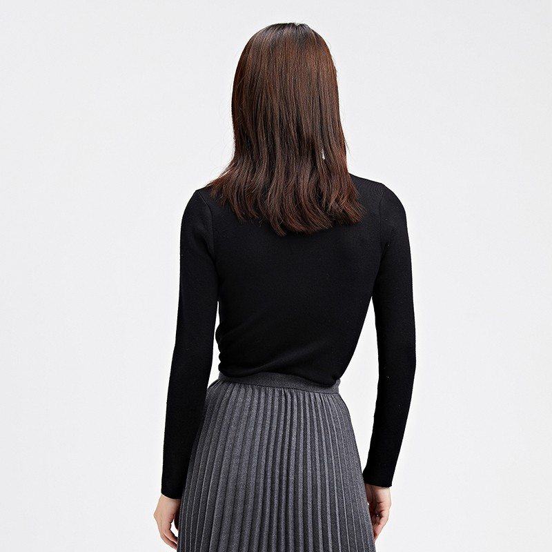 金苑冬装2019新款女装打底上衣基础纯色显瘦外穿长袖针织衫H959014