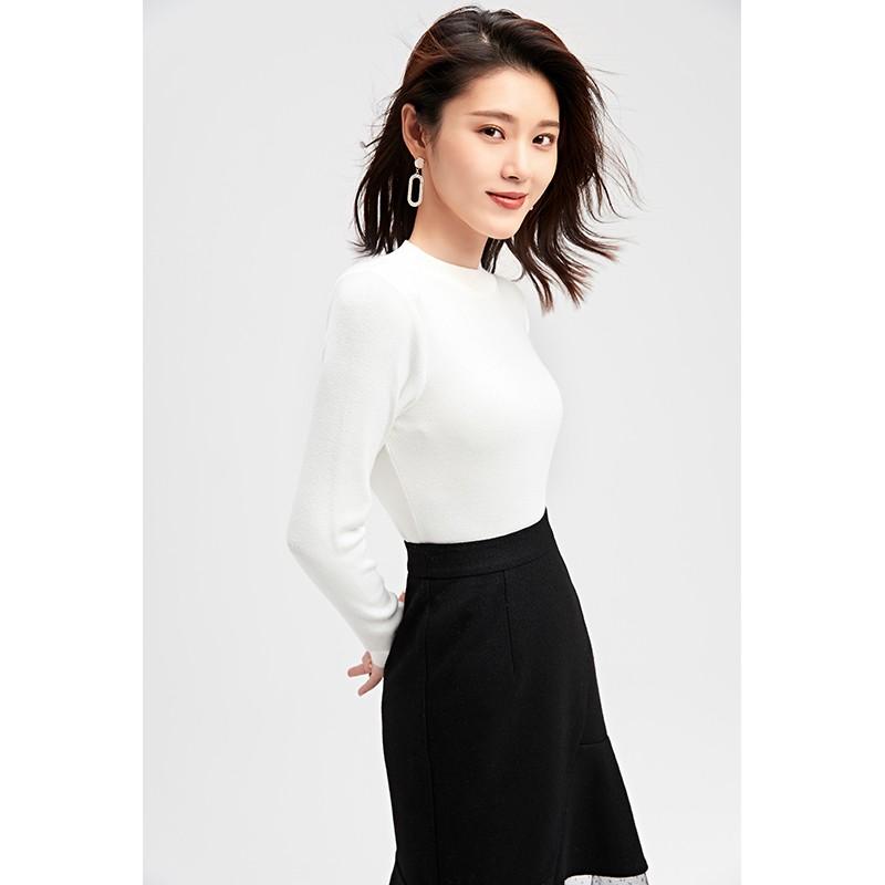 金苑冬装2019新款女装打底上衣基础纯色显瘦外穿长袖针织衫H959012