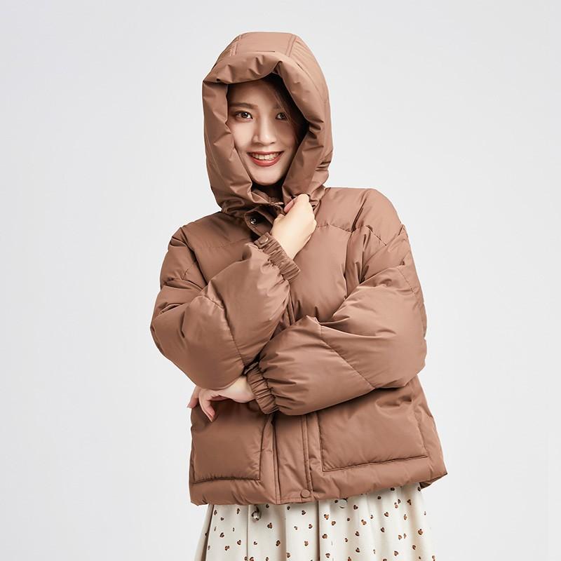 金苑羽绒服2019冬装新款女保暖外套百搭显瘦翻领时尚羽绒服J9512310