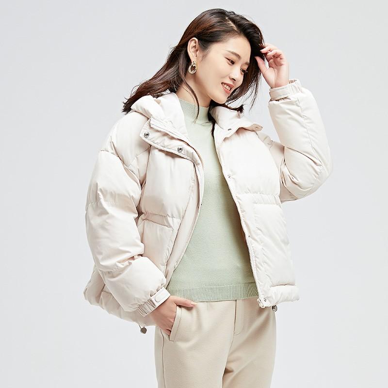 金苑羽绒服2019冬装新款女保暖外套百搭显瘦翻领时尚羽绒服J951232