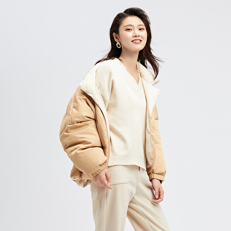 金苑2019冬装新款女士羽绒服修身显瘦保暖减龄长袖外套J951112