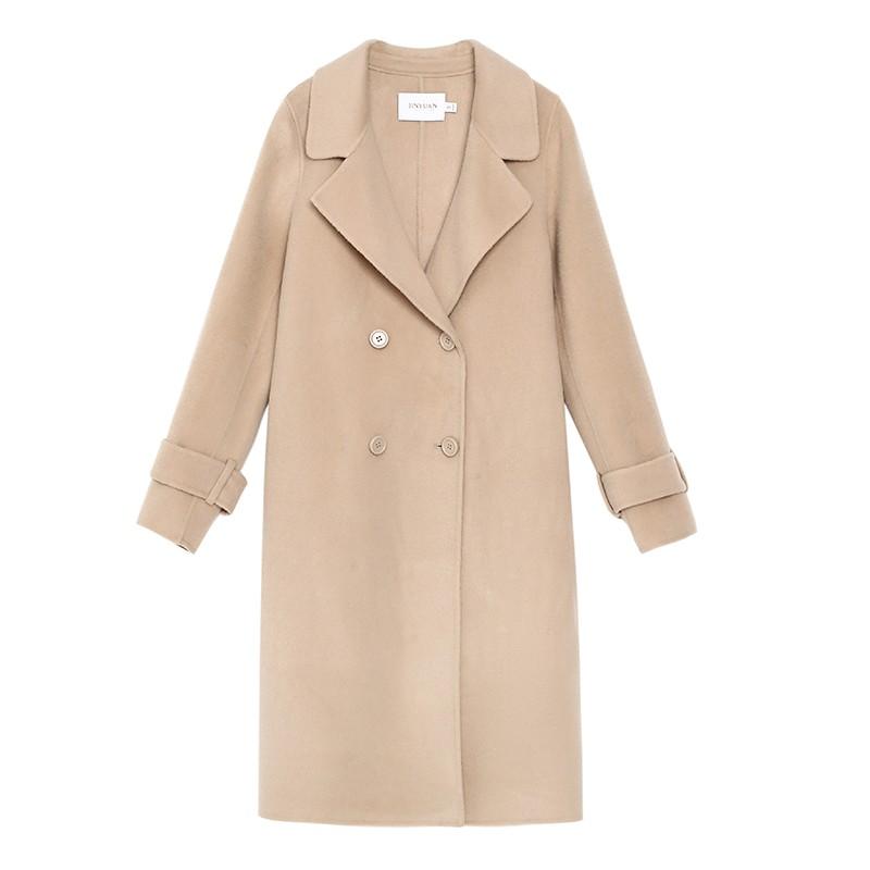 金苑毛呢外套2019新款韩版100%羊毛宽松中长款双面呢大衣女E951076