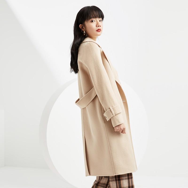 金苑毛呢外套2019新款韩版100%羊毛宽松中长款双面呢大衣女E951073