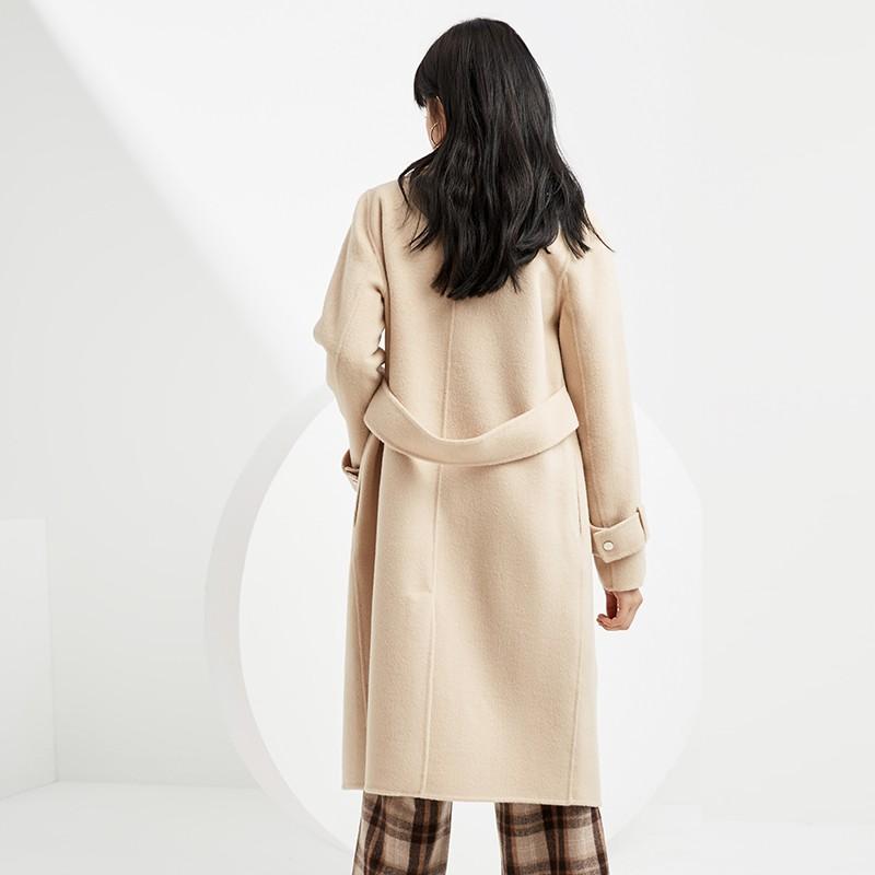金苑毛呢外套2019新款韩版100%羊毛宽松中长款双面呢大衣女E951074