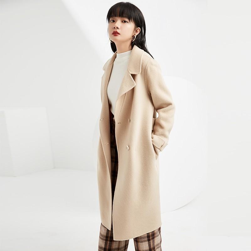 金苑毛呢外套2019新款韩版100%羊毛宽松中长款双面呢大衣女E951072
