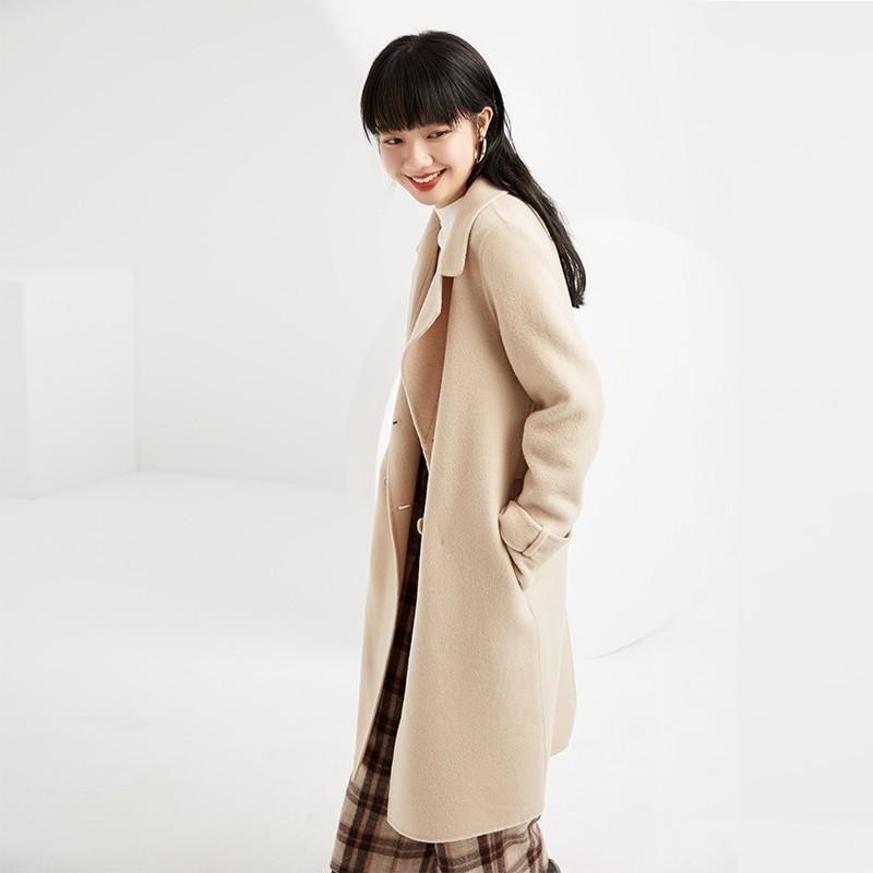 金苑毛呢外套2019新款韩版100%羊毛宽松中长款双面呢大衣女E951075