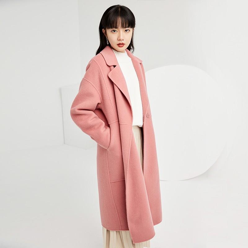 金苑双面呢子大衣女新款2019冬季流行外套韩版女羊毛呢外套E951305
