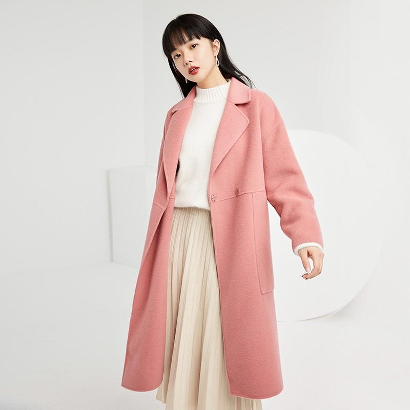 金苑双面呢子大衣女新款2019冬季流行外套韩版女羊毛呢外套E951302