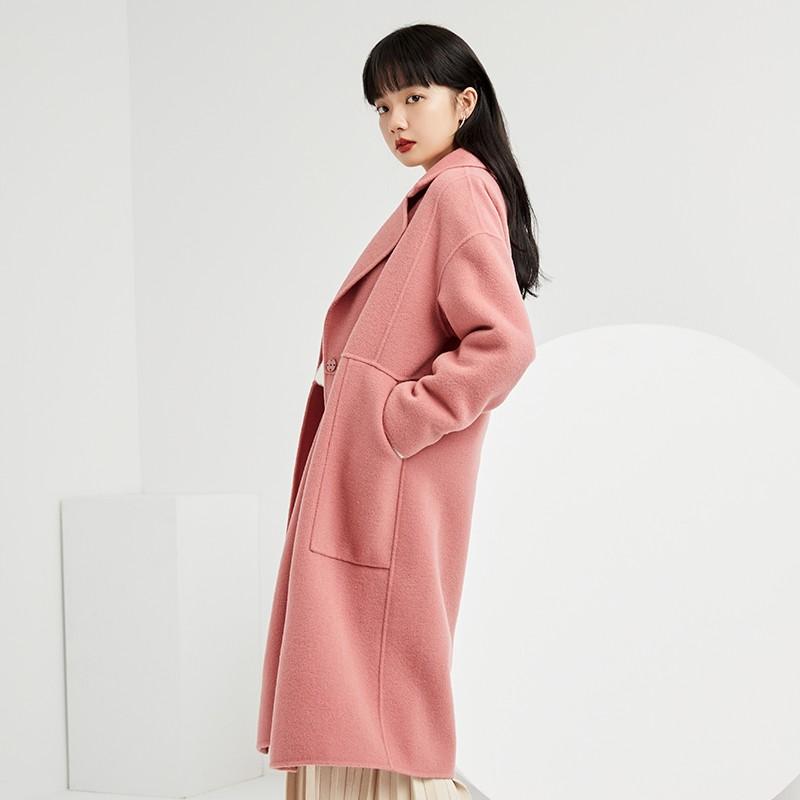 金苑双面呢子大衣女新款2019冬季流行外套韩版女羊毛呢外套E951303