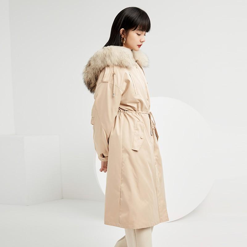 金苑羽绒服女2019新款冬装羽绒衣宽松长款过膝大毛领外套女J951452