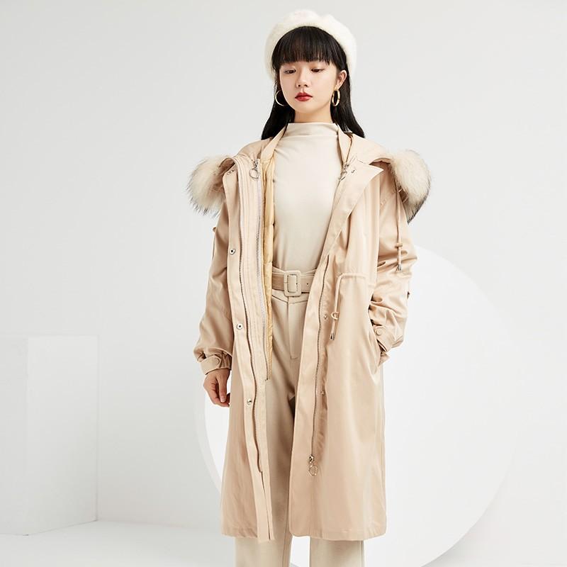 金苑羽绒服女2019新款冬装羽绒衣宽松长款过膝大毛领外套女J951453