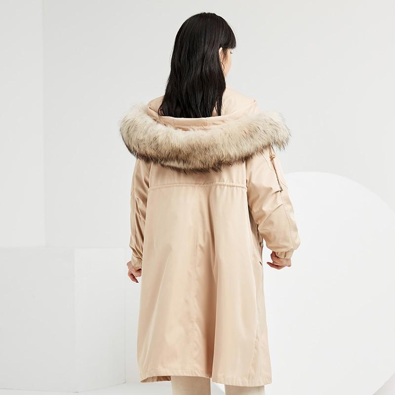 金苑羽绒服女2019新款冬装羽绒衣宽松长款过膝大毛领外套女J951454