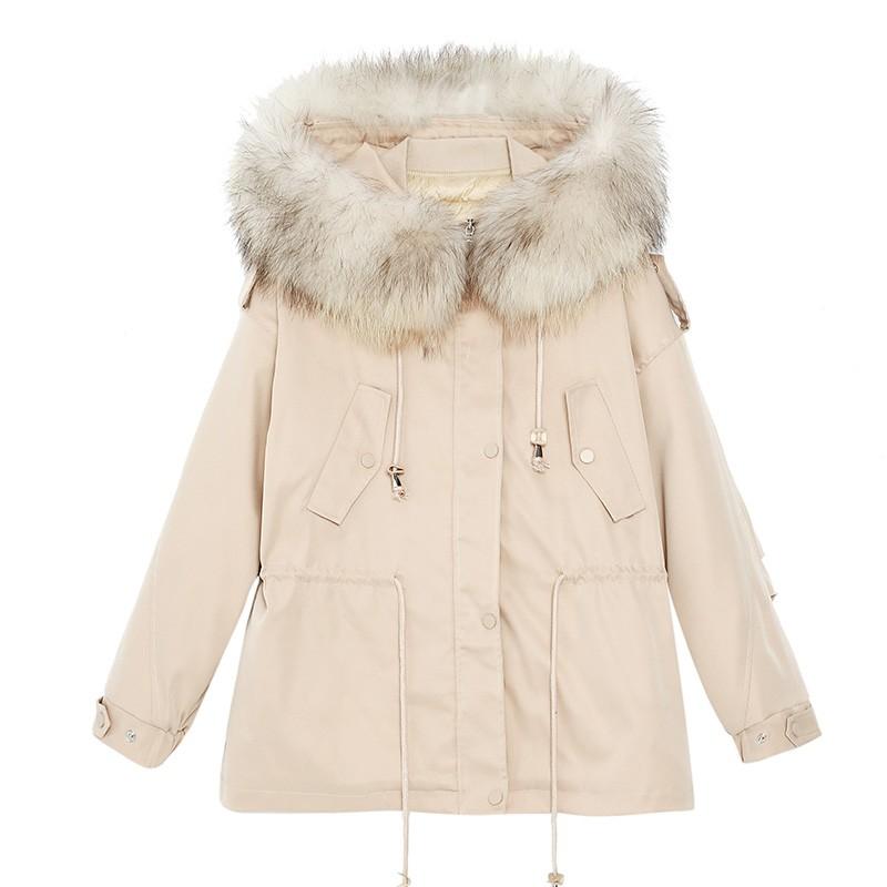 金苑派克服女2019新款冬装韩版宽松潮两件套白鸭绒羽绒服女J951465