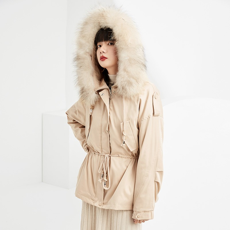 金苑派克服女2019新款冬装韩版宽松潮两件套白鸭绒羽绒服女J951463