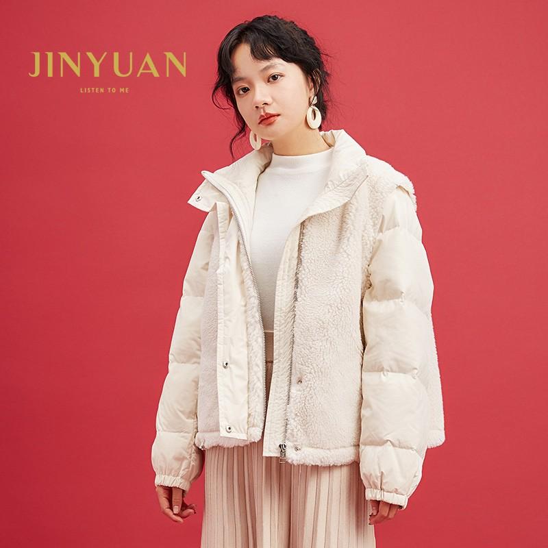 金苑韩版外套2019冬季新款修身羊毛外套女装短款羽绒外套女J951501