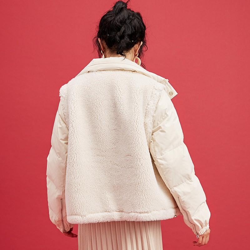 金苑韩版外套2019冬季新款修身羊毛外套女装短款羽绒外套女J951504