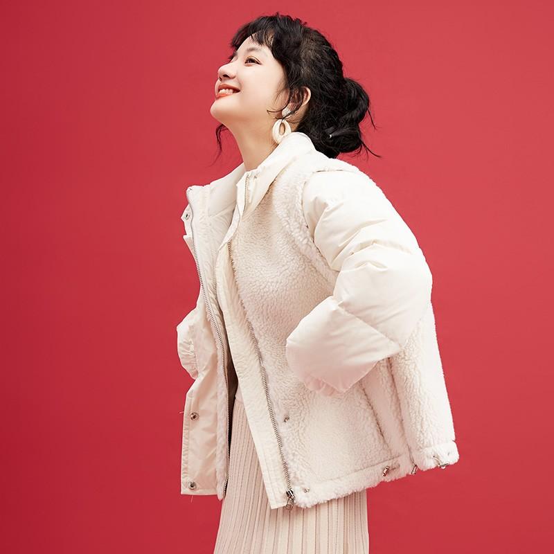 金苑韩版外套2019冬季新款修身羊毛外套女装短款羽绒外套女J951502