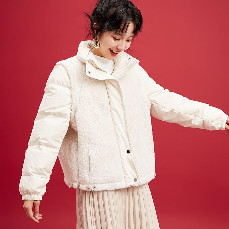 金苑韩版外套2019冬季新款修身羊毛外套女装短款羽绒外套女J951503