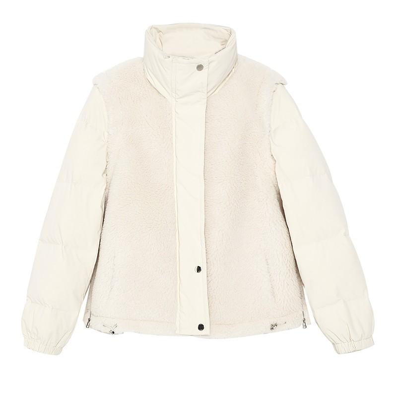 金苑韩版外套2019冬季新款修身羊毛外套女装短款羽绒外套女J951505