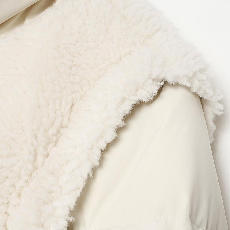 金苑韩版外套2019冬季新款修身羊毛外套女装短款羽绒外套女J951506