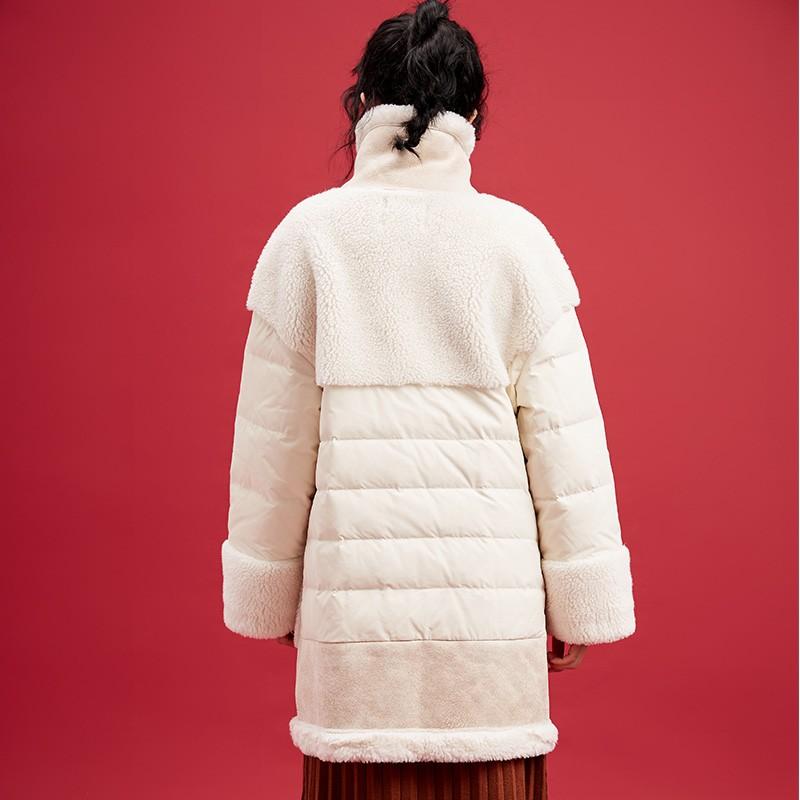 金苑中长款长袖外套冬季2019新款女装时尚宽松羊毛羽绒服女J951514