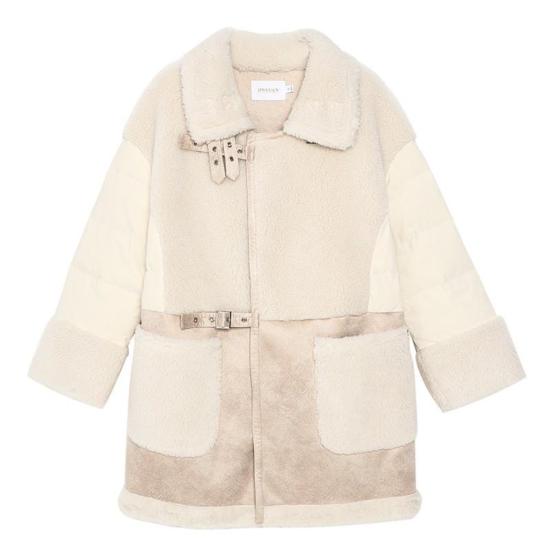 金苑中长款长袖外套冬季2019新款女装时尚宽松羊毛羽绒服女J951515