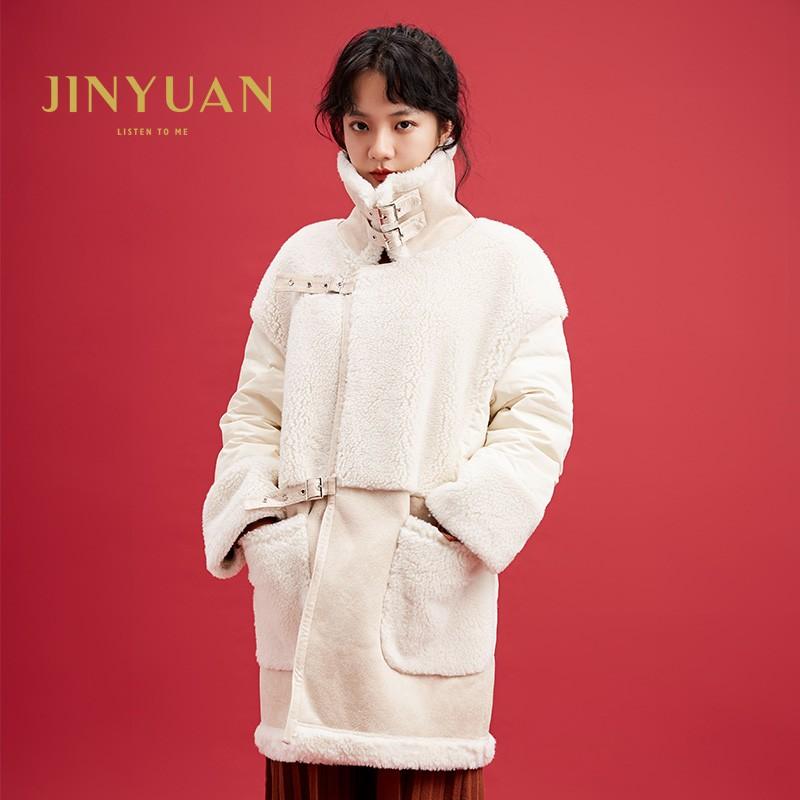 金苑中长款长袖外套冬季2019新款女装时尚宽松羊毛羽绒服女J951511