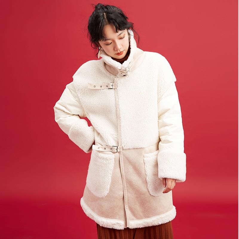 金苑中长款长袖外套冬季2019新款女装时尚宽松羊毛羽绒服女J951512