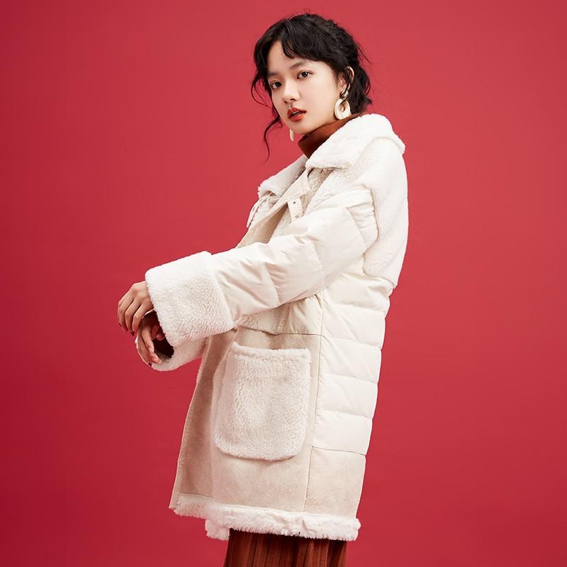 金苑中长款长袖外套冬季2019新款女装时尚宽松羊毛羽绒服女J951513