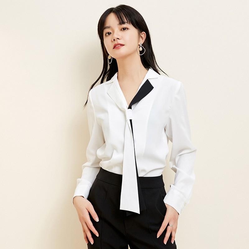 金苑2020春新款女装领口飘带宽松百搭长袖套头雪纺衫衬衫A2011013