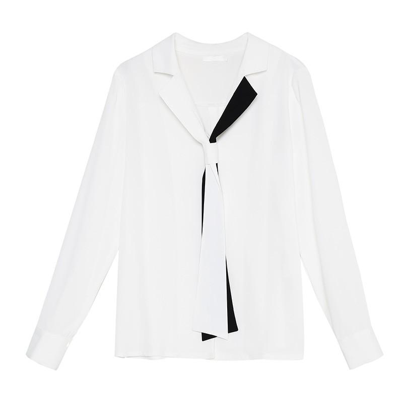 金苑2020春新款女装领口飘带宽松百搭长袖套头雪纺衫衬衫A2011016