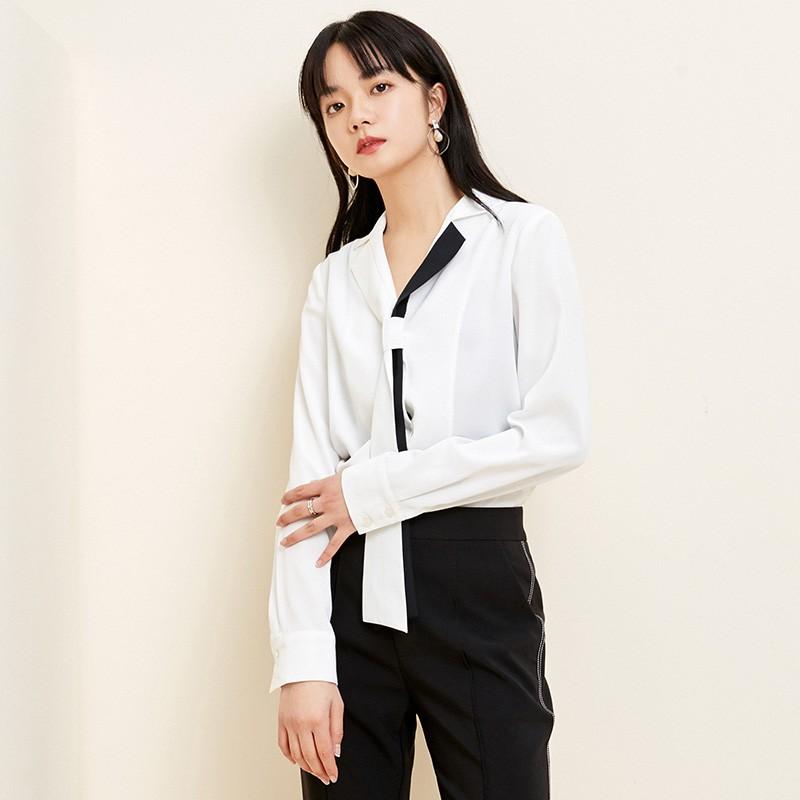 金苑2020春新款女装领口飘带宽松百搭长袖套头雪纺衫衬衫A2011012