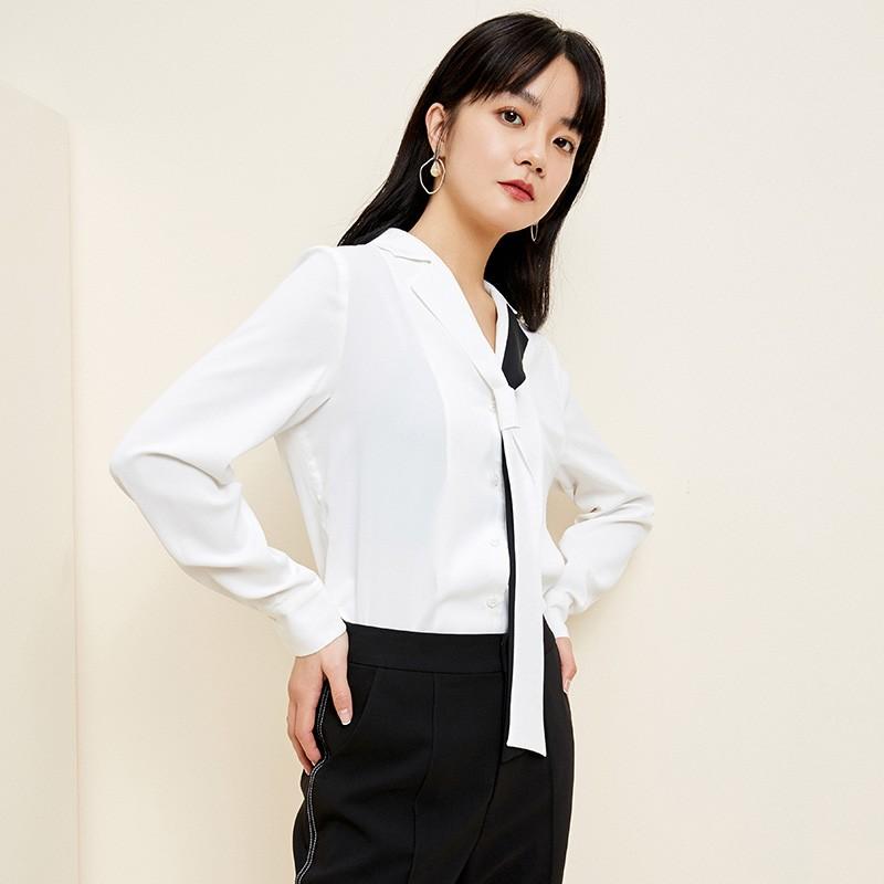 金苑2020春新款女装领口飘带宽松百搭长袖套头雪纺衫衬衫A2011014