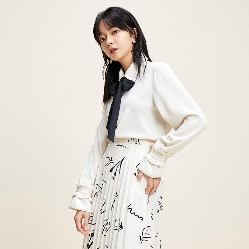 金苑上衣2020新款春时尚潮流女装气质长袖设计感雪纺衫女A2011024