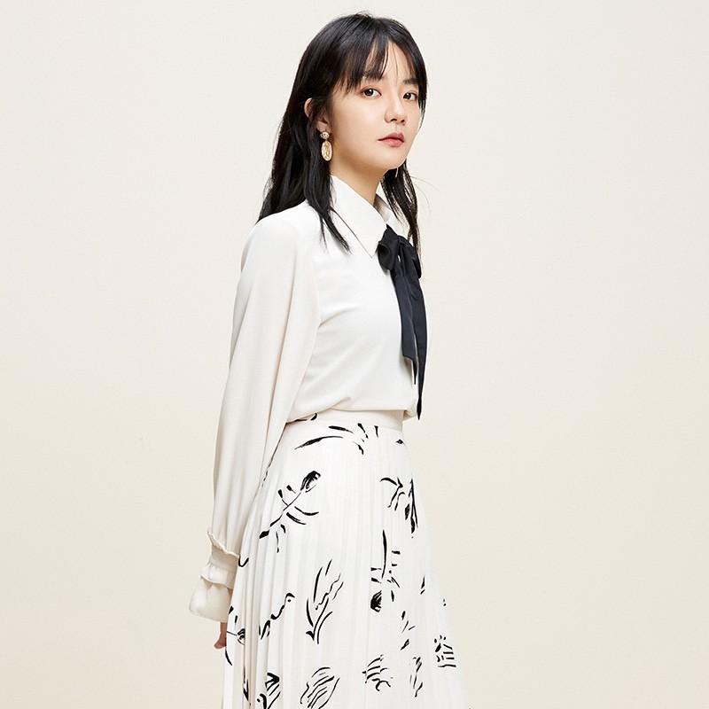 金苑上衣2020新款春时尚潮流女装气质长袖设计感雪纺衫女A2011023