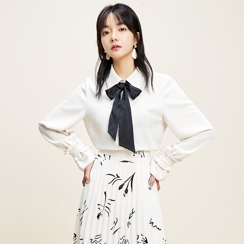 金苑上衣2020新款春时尚潮流女装气质长袖设计感雪纺衫女A2011022