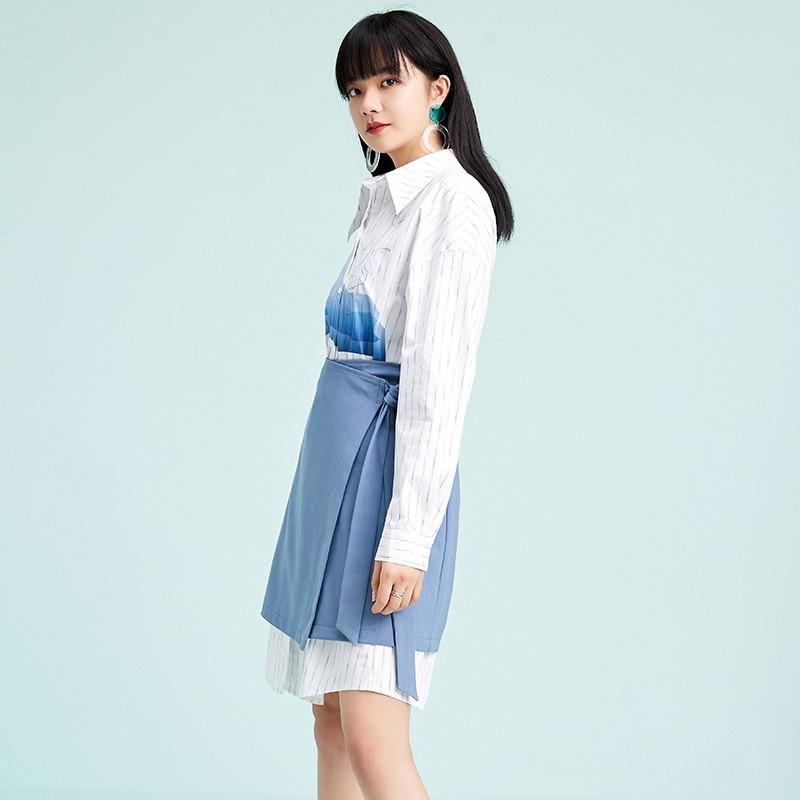 金苑两件套连衣裙2020春季新品韩版设计感气质条纹衬衫裙G2011064